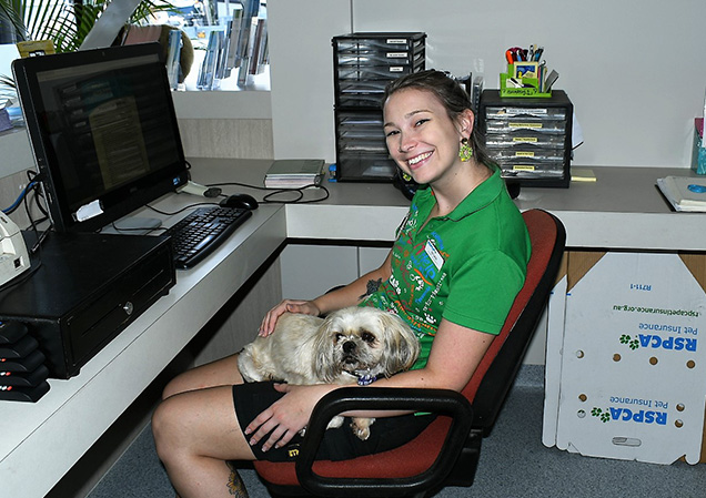 Terrier with RSPCA staff in office